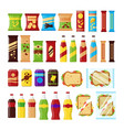 snack product set for vending machine fast food vector image vector image