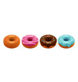 sweet glazed donuts isolated on white background vector image vector image