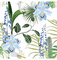 tropical blue flowers and leaves pattern vector image vector image