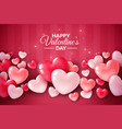 valentines day 3d hearts cute love banner vector image