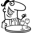 waiter in restaurant cartoon vector image vector image