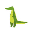 young green cute cheerful crocodile spends his vector image vector image