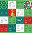 2017 wall calendar with rooster vector image