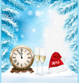 holiday christmas background with a champange and vector image