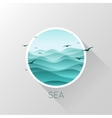 Sea icon Waves and seagulls vector image