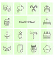 14 traditional icons vector image vector image
