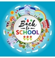 Back to school round banner Circle frame with vector image