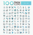 big set 100 modern icons in thin line style vector image