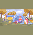 bike tourism camping flat concept vector image