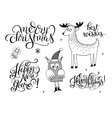 black and white christmas collection set of vector image