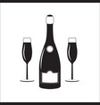 bottle of champagne wine with two glasses linear vector image