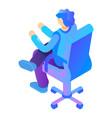 boy at armchair icon isometric style vector image vector image