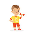boy exercising with dumbbell kid doing sports vector image vector image