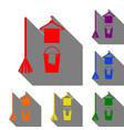 broom bucket and hanger sign set of red orange vector image