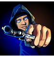 cartoon guy a gun aiming at close range vector image