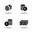 cash paper money stack and dollar and euro coin vector image vector image