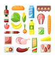 common supermarket grocery products flat vector image vector image