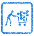 customer cart ripple framed stamp vector image vector image