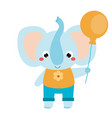 cute elephant holing orange balloon cartoon vector image
