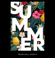 dark summer design with exotic palm leaves vector image