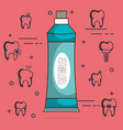 dental care set icons vector image vector image