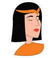 egyptian girl on white background vector image vector image