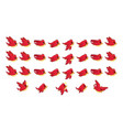 flying red bird game sprites vector image vector image