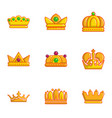 gold crown icons set flat style vector image
