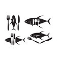 graphic tuna and silverware vector image vector image
