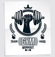 gym advertising poster composition with kettle vector image