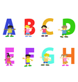 happy kids cartoon alphabet collection vector image vector image