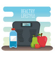 healthy lifestyle desigh with scale and fruits vector image