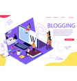 isometric concept creative writing or blogging vector image vector image