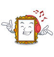 listening music picture frame mascot cartoon vector image