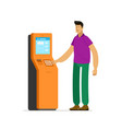 man at information terminal stand business vector image