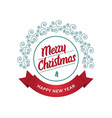 merry christmas and happy new year - greeting vector image vector image