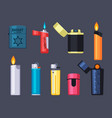 modern and retro lighters set stylish plastic vector image vector image