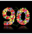 number ninety made from fruits vector image vector image