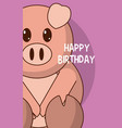pork cute birthday card vector image