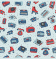 retro seamless pattern with antique tech radio vector image