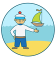Sailor and the boat vector image vector image