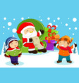 santa claus carrying present bags and holding vector image vector image