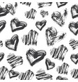 seamless heart pattern black and white ink pattern vector image vector image