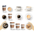 set of coffee cups on the white background vector image vector image