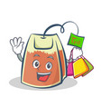 shopping tea bag character cartoon vector image vector image