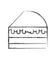 sketch draw cake slice cartoon vector image