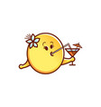 smiley face emoticon drinking cocktail vector image