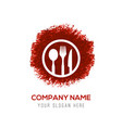 spoon and fork icon - red watercolor circle splash vector image vector image