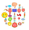 strain icons set cartoon style vector image