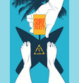 surf beach party vintage poster design vector image